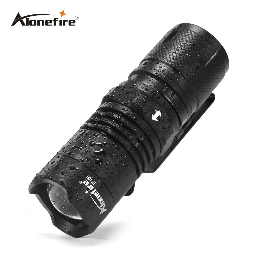 AloneFire TK100 Mini Led Flashlight Zoom 4Mode LED Torch Light Lanterna Tactical Flashlight 16340 Battery For Bicycle Camping