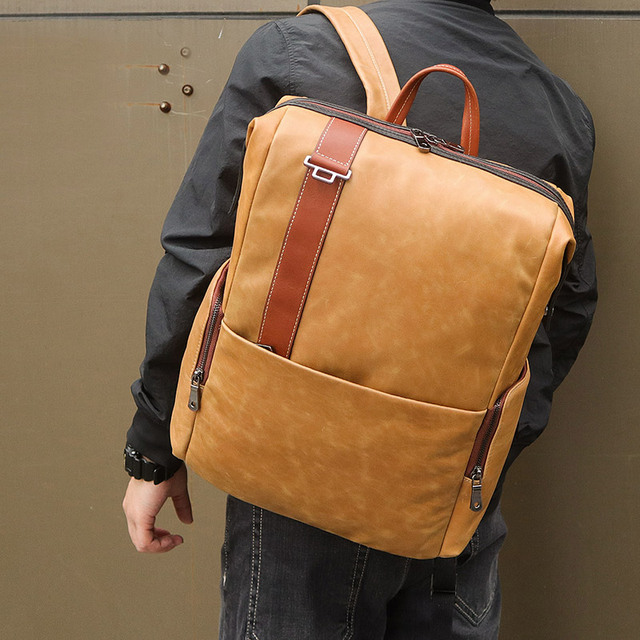 70344816c0e5 US $93.99 50% OFF|Nesitu High Quality New Brown Genuine Leather 14'' 15.6''  17'' Laptop Women Men Backpacks Real Skin Male Travel Bags M7260-in ...