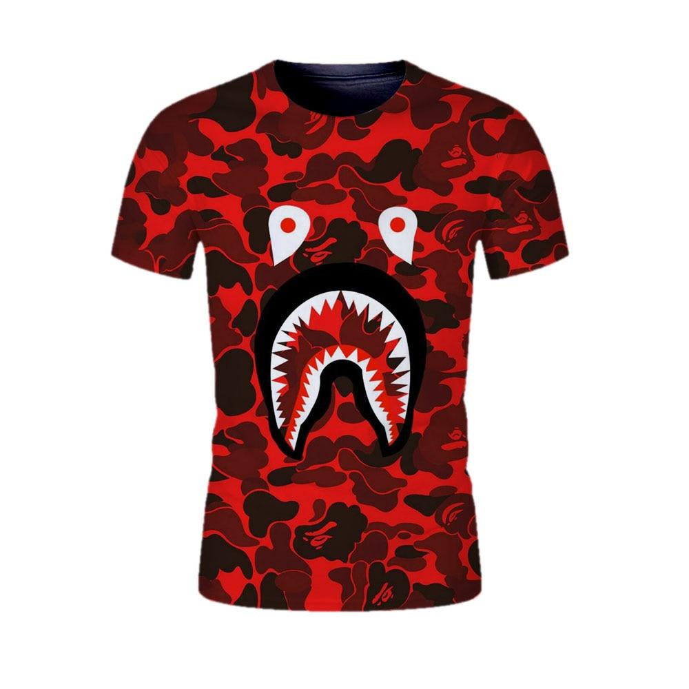 t shirt men 3D Shark head cool tshirt fashion Hipster t ...