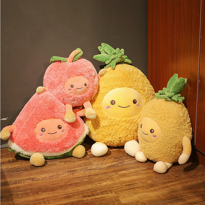 Kawaii Fuzzy Watermelon Cherry Pineapple Fruits Soft Plush Cute Toys Stuffed Dolls Pillow For Baby Kids Children Girl Gifts