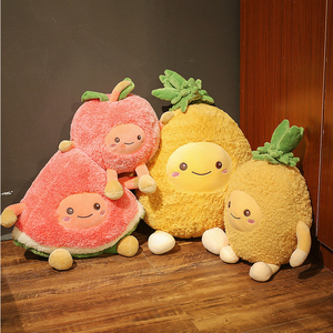 Kawaii Fuzzy Watermelon Cherry Pineapple Fruits Soft Plush Cute Toys Stuffed Dolls Pillow for baby kids children girl gifts(China)