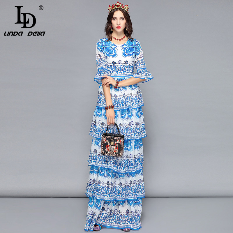 LD LINDA DELLA Women Long Maxi Dresses Tiered Blue and white Floral Print Casual Holiday Vacation Dress Elegant Party Dresses-in Dresses from Women's Clothing    2
