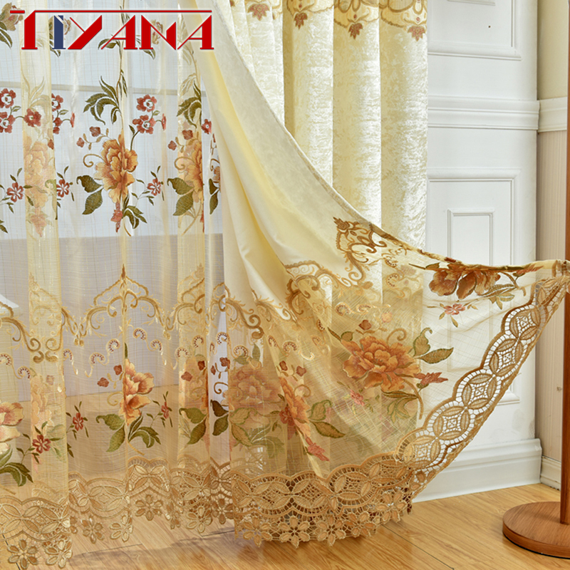 European Luxury Window Curtains For Living Room Embroidered Floral Tulle Blackout Drapes Custom Made Cortinas For Bedroom WP3213