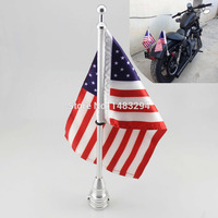 Chrome Motorcycle Flag Pole American Flag Fits Fits For Harley Sportster XL883 XL1200