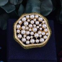 Godki 40ミリメートル大きな高級模造真珠キュービックジルコニアブランド新しい婚約リング用女性グリッターエレガントなハンドメイドリン
