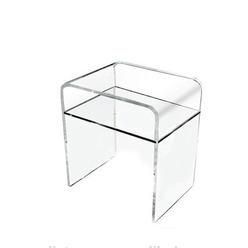 Plain and elegant clear transparent perspex acrylic bedside table 40 30 h45 with shelf