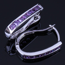 Enjoyable Purple Cubic Zirconia 925 Sterling Silver Clip Hoop Huggie Earrings For Women V1053