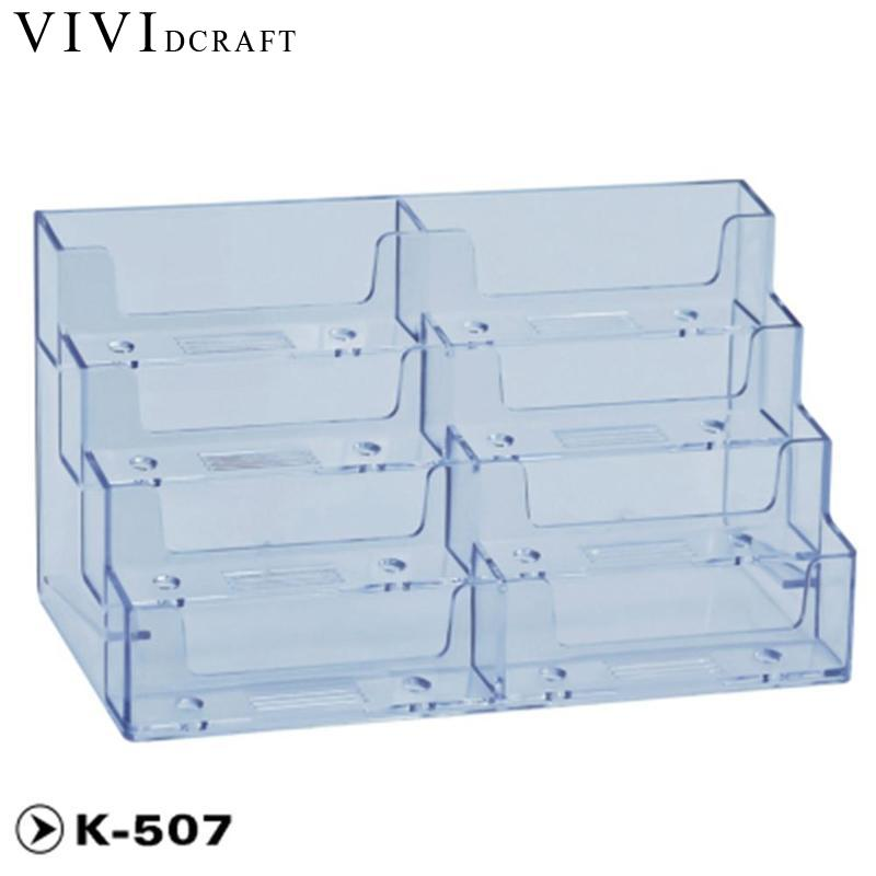 Vividcraft Desk Accessories Transparent Acrylic Counter Top Display Stand Photo Holder Business Card Holders Desk Stand JXJ1458