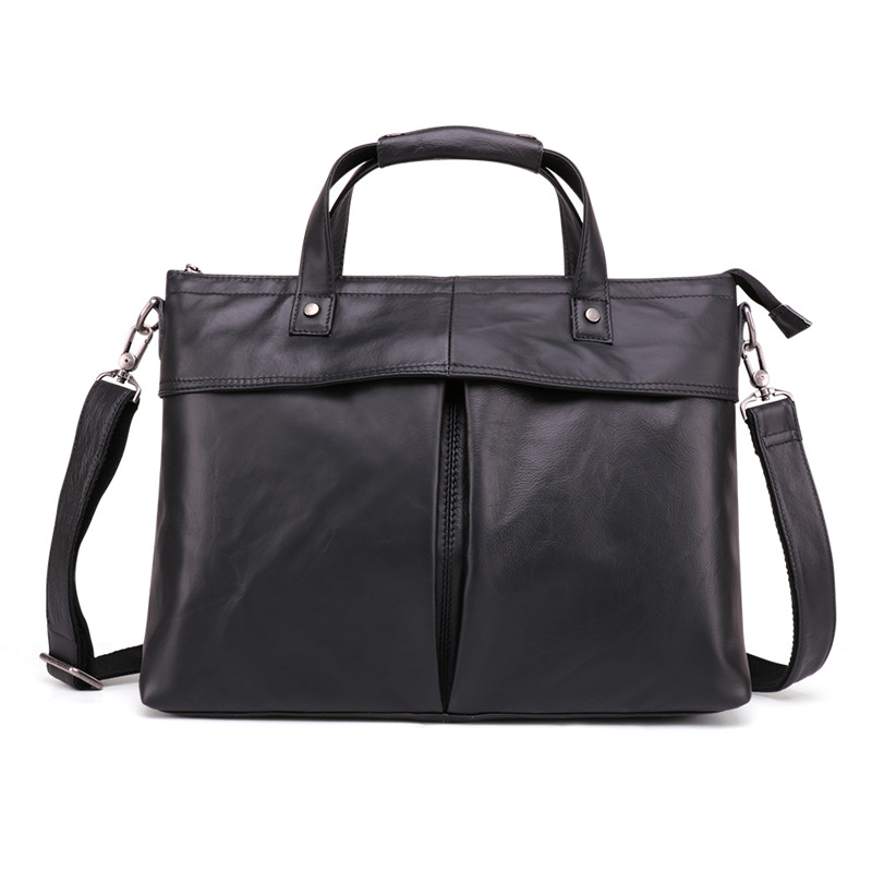 Nesitu New Black A4 Genuine Leather 14'' Laptop Men Briefcase Messenger Bags Office Male Portfolio Handbag Shoulder Bag M6436