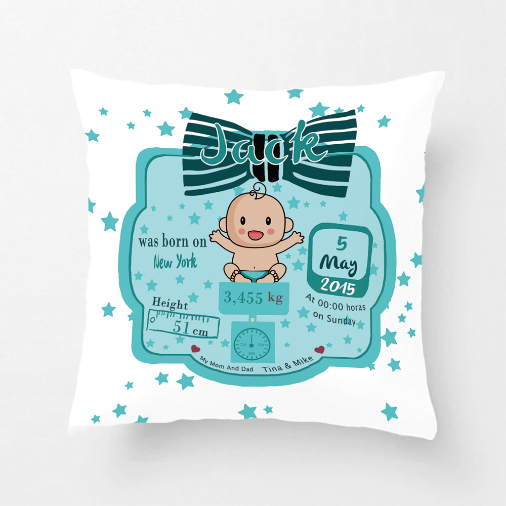 Custom Birth Data Printing Baby Boy Blue Throw Pillow Case Decorative Cushion Cover Pillowcase Cute Birthday Gift By Lvsure
