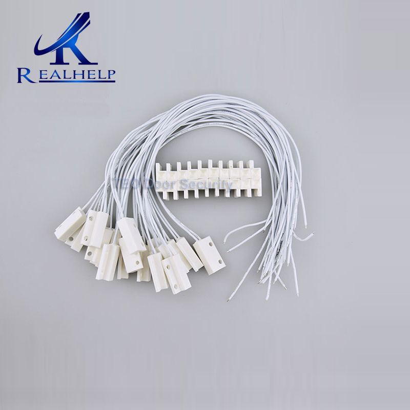 10pcs Window Magnetic door Contact switch Sensor Home security alarm Wired Detector Switch for GSM door Contact Sensor