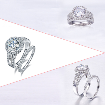 J.C Luxurious Round White Topaz Real 100% 925 Sterling Silver Ring Size 6 7 8 9 For Couple Fine Jewelry Wedding Engagement Rings 2