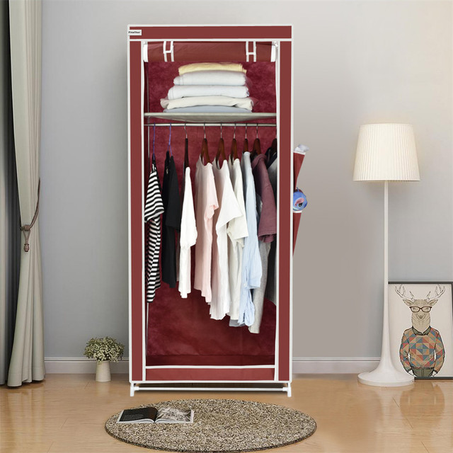 Finether Non Woven Fabric Single Wardrobe With Side Pockets Portable Clothes Closet