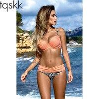 TQSKK Push Up Swimwear 2017 New Bikinis Women Swimsuit Female Summer Sexy Solid Bikini Set Beach