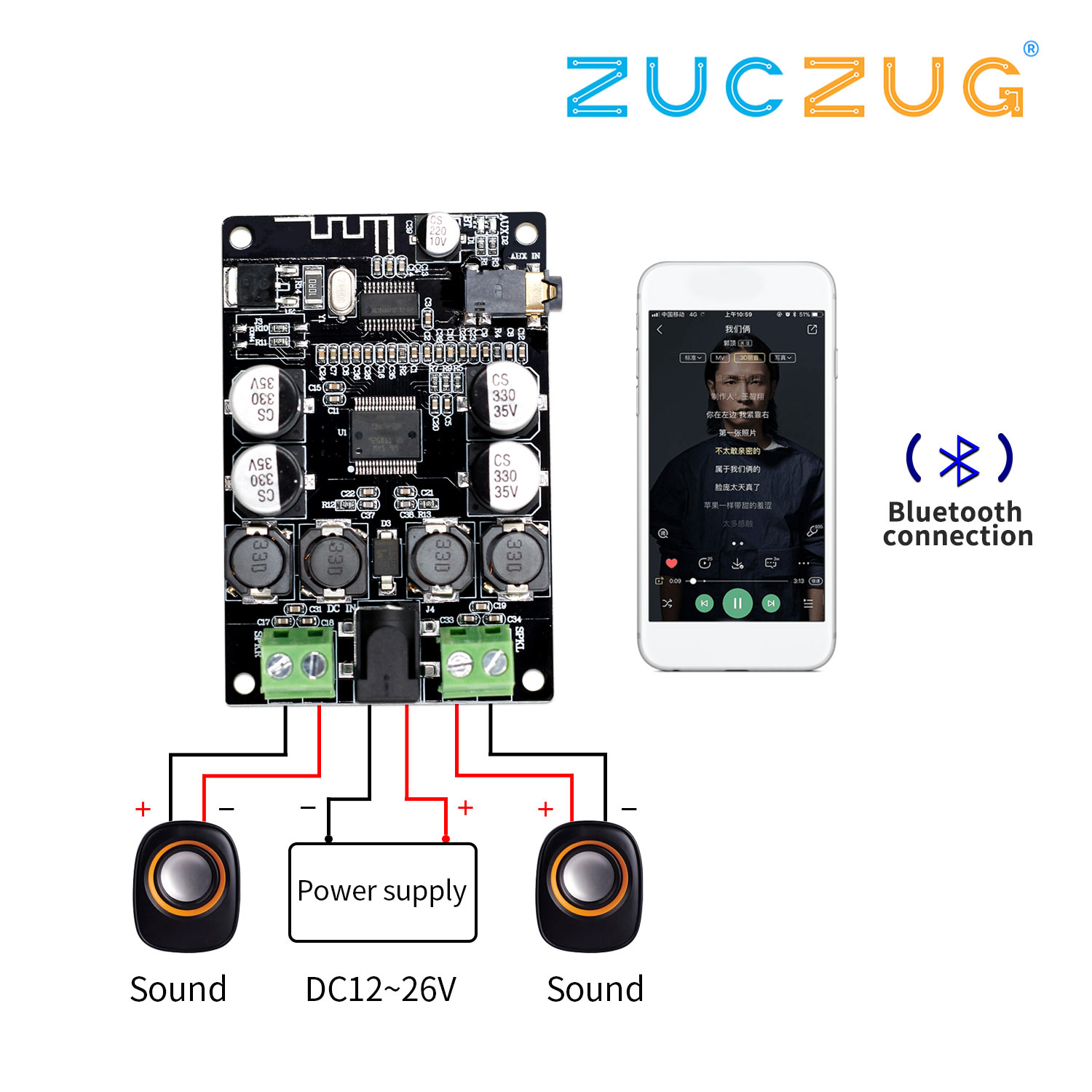 VHM-307 TDA7492P Bluetooth Receiver <font><b>Amplifier</b></font> Audio Board 25W*2 Speakers Modified Music Mini <font><b>Amplifiers</b></font> Diy Dual channel image