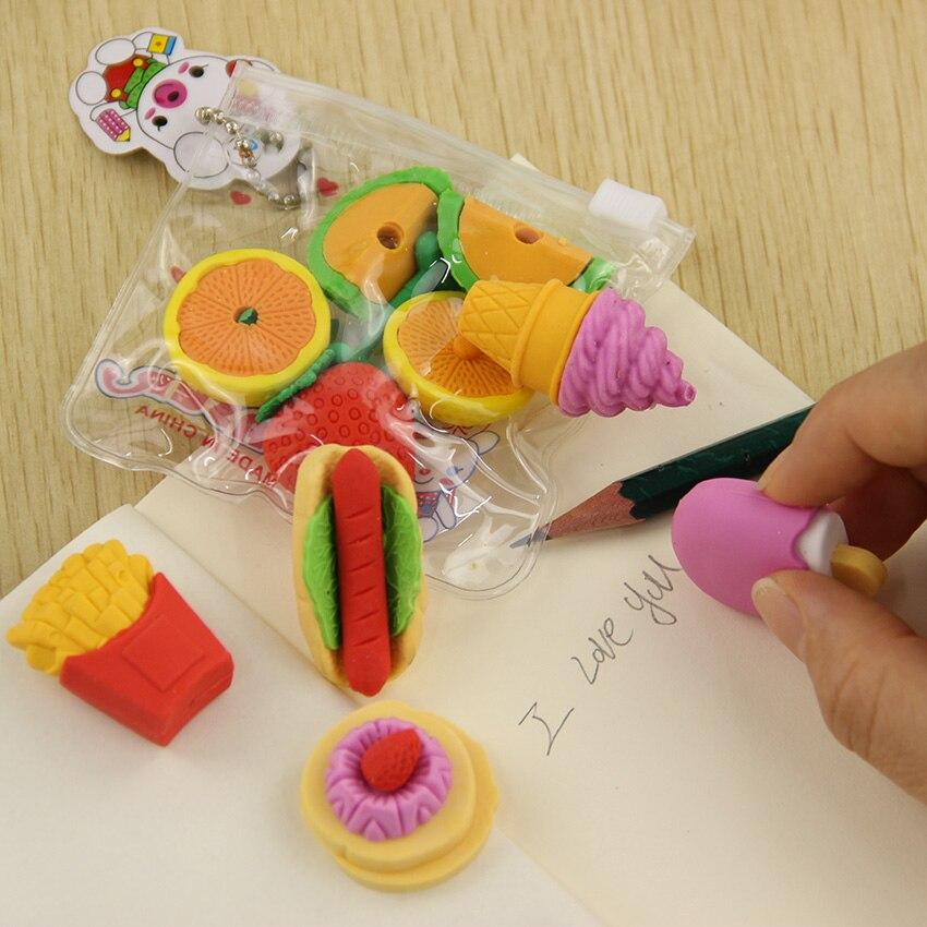 1 Lot nouveauté gros fruits Cuisine forme gomme caoutchouc gomme primaire école étudiant prix promotionnel cadeau papeterie 1