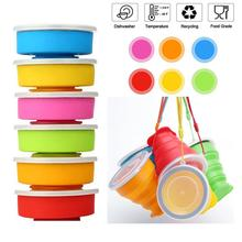 Hot Sale Portable Folding cups Collapsible Silicone Water Cup Durable Creative Silica Gel Milk Tea Juice Drinkware