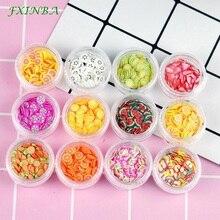 FXINBA 12 Type/Set Kawaii Fimo Fruit Slices For Slime Supplies/Nails Art Tips Clay Artificial Fruit Slices Slimes Toys Lizun DIY