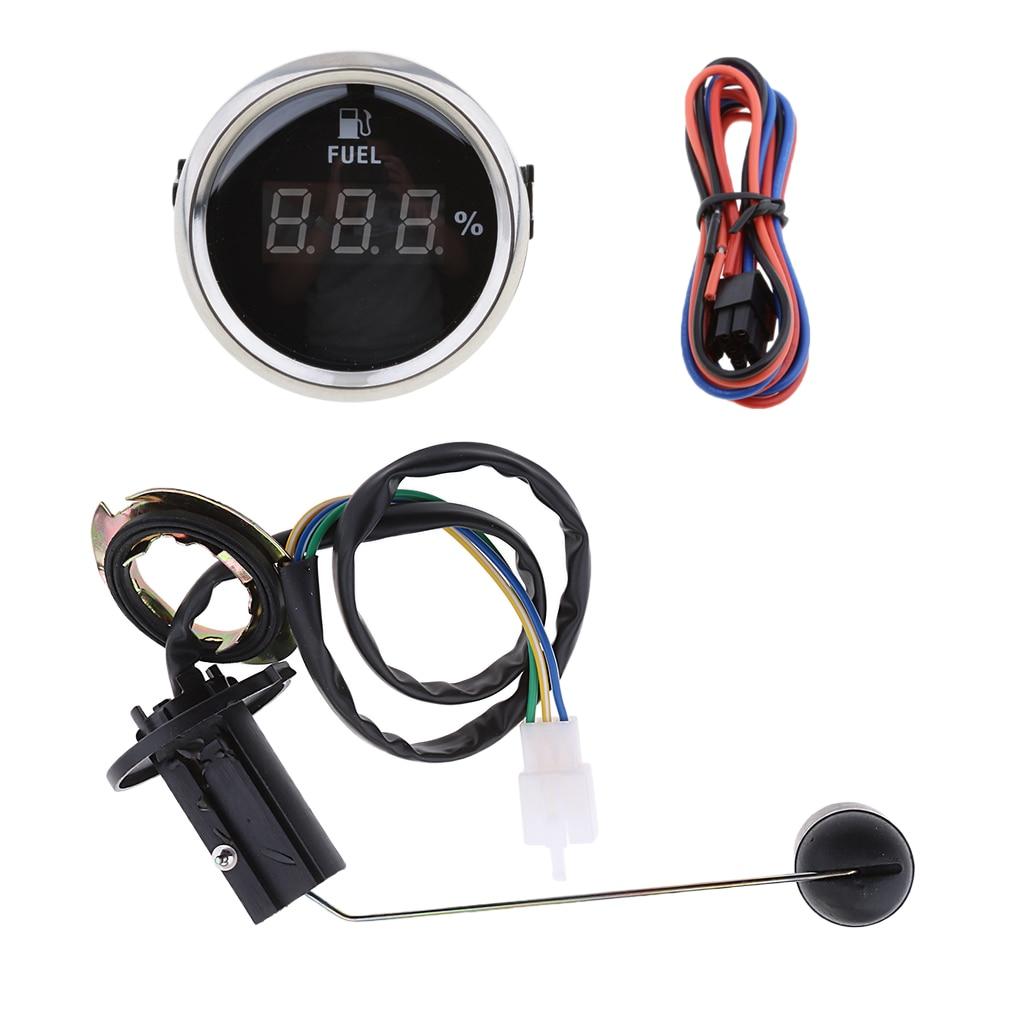 Adjustable Fuel Level Sender Sending Unit + 2inch Fuel Level Gauge Meter Digital LED Light Dispalay