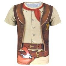Men Captain Uniform 3D T Shirt Adult Man Cosplay Costume Top Plus Size Cowboy Pirate Pilot Carnival Clothes
