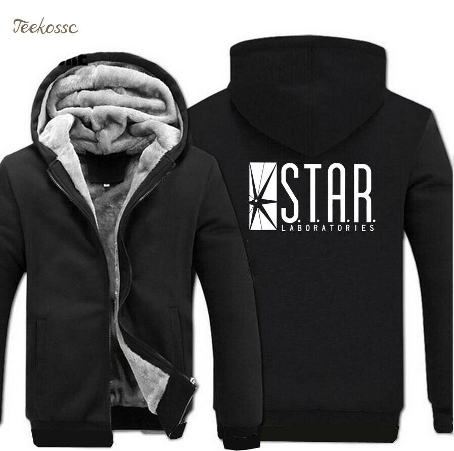 The Flash STAR S.T.A.R. Labs Superman Hoodie Sweatshirts Hooded 2018 Winter Warm Fleece Sweatshirt Men Black Raglan Tracksuits