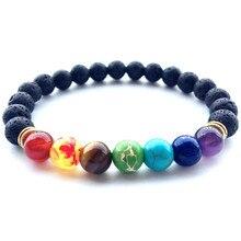 Топ 7 Чакр браслет Мужская Черная Лава Исцеление баланса бусины рейки Будда молитва браслет для йоги из натуральных камней для женщин ювелирные изделия