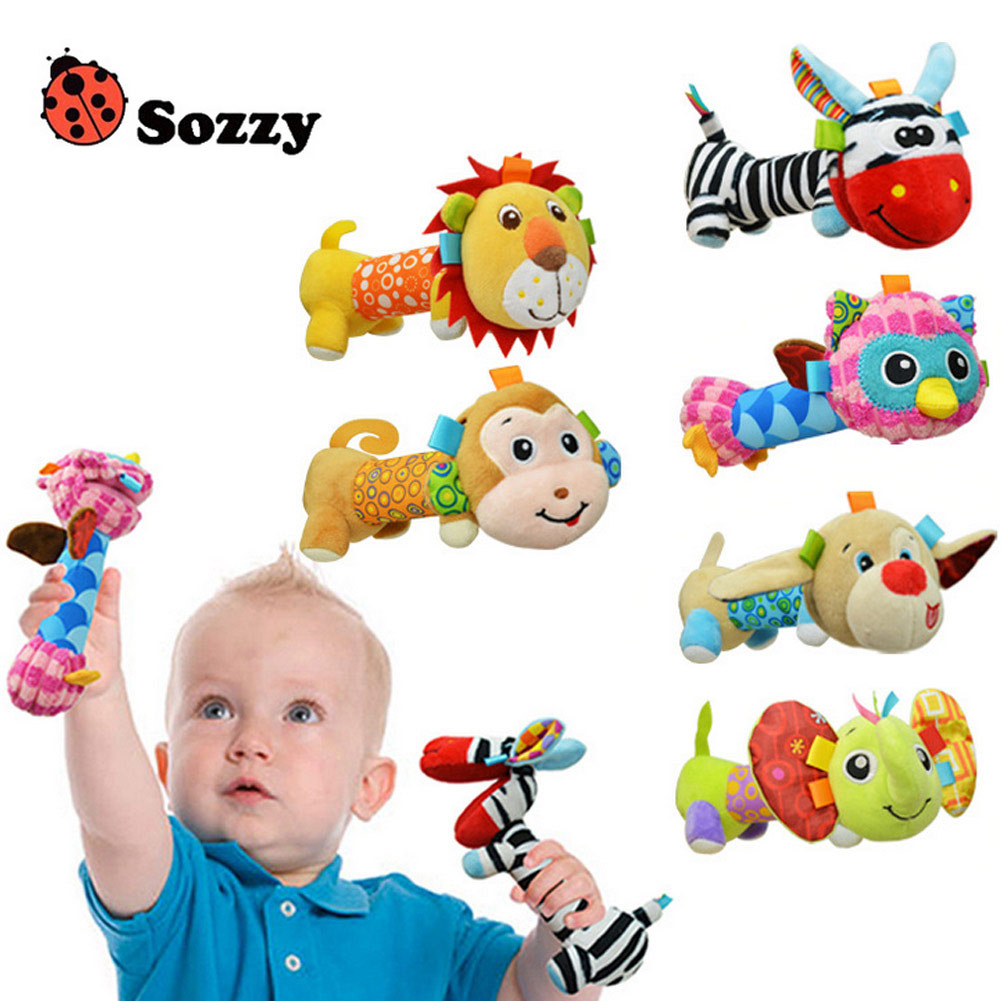 Sozzy Newborn Baby Soft Plush Rattle Infant Animals Mirror Toys Hand Bells Kids Christmas Gift BM88