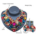 Sistemas de la joyería KC Chapado En Oro Aretes Collar de Cristal para Las Mujeres Del Banquete de Boda Perlas Africanas sistemas de La Joyería LF-G007