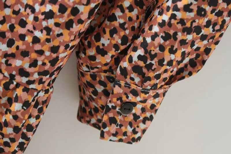 2019 נשים בציר קפלים ראפלס הדפס מנומר מיני שמלת נקבה o צוואר ארוך שרוול מזדמן vestidos שיק מתוק שמלות DS1946