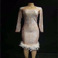 2019 Women New Shiny Rhinestone Short White Feather Sexy Dress Nightclub Party Celebrate Wear Dancer Singer Bling Costumes Dress