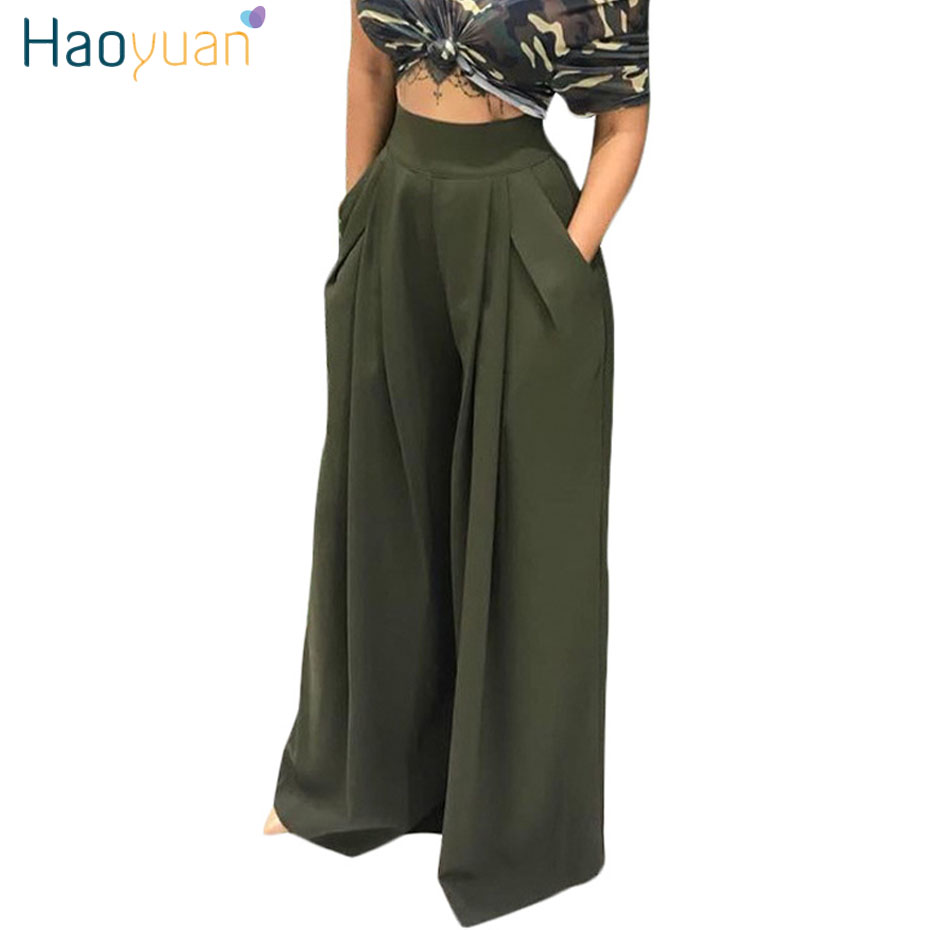 HAOYUAN High Waist   Wide     Leg     Pants   Women Autumn Army Wine Red Yellow Trousers Streetwear Casual Loose Pocket Party Palazzo   Pants