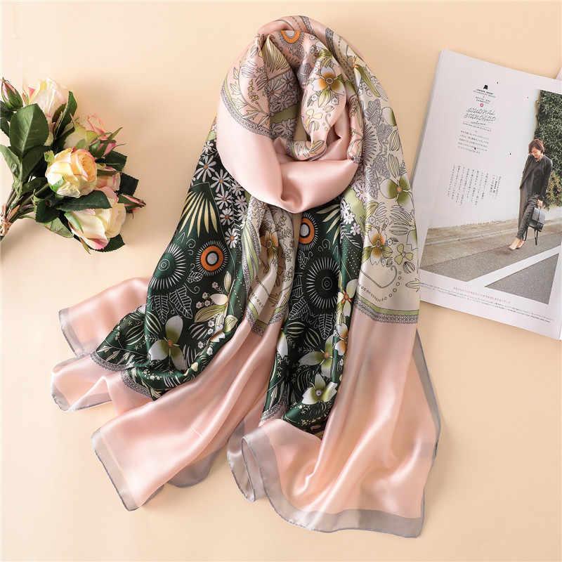 2018 frauen Neue Mode Afrikanische Ethnische Floral Seidenschal Lady Luxury Brand Wraps und Schals Pashmina Weiblich Foulards Hijab Snood