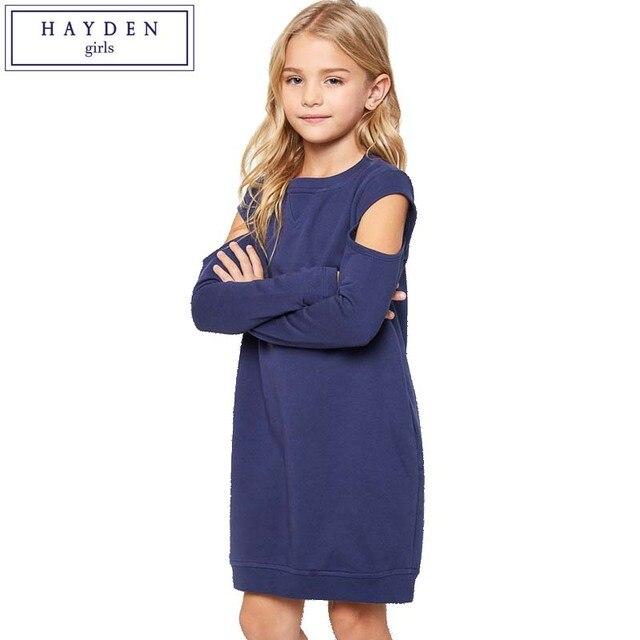 HAYDEN/платья для девочек-подростков, От 6 до 14 лет, платье-Толстовка для больших девочек, детское осеннее платье 2017, платье с длинными рукавами