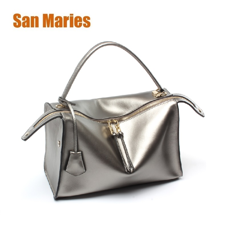 San Maries Genuine Leather Totes Female Shoulder Crossbody Bags for Women Leather Handbag Ladies Messenger Bag Large Top-handle new genuine leather totes female shoulder crossbody bags for women leather handbag ladies messenger bag large top handle bag