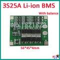 3 S 25A 18650 PCM BMS placa de proteção da bateria de Iões de lítio bms pcm com equilíbrio para a li-ion célula de bateria lipo pack