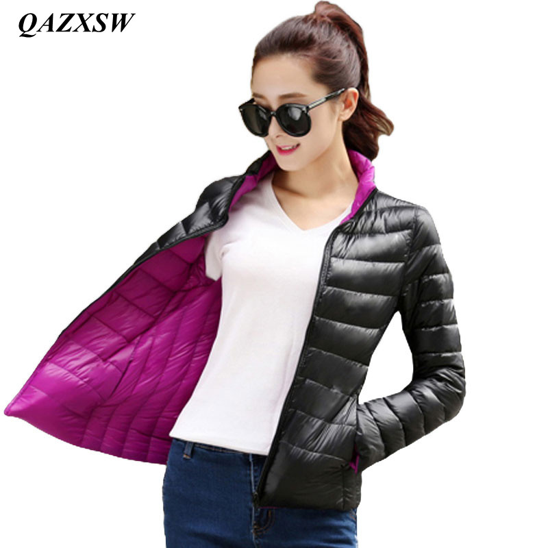 QAZXSW Both Sides To Wear Coat Female Spring Jacket Women Padded Down Cotton Parkas Thin and light Basic Jackets Coats YX8850