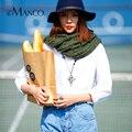 Moda Mimosa Loop Cachecóis de Lã de Tricô para As Mulheres Crochet Macio Silencioso Inverno Neck Warmer 2016