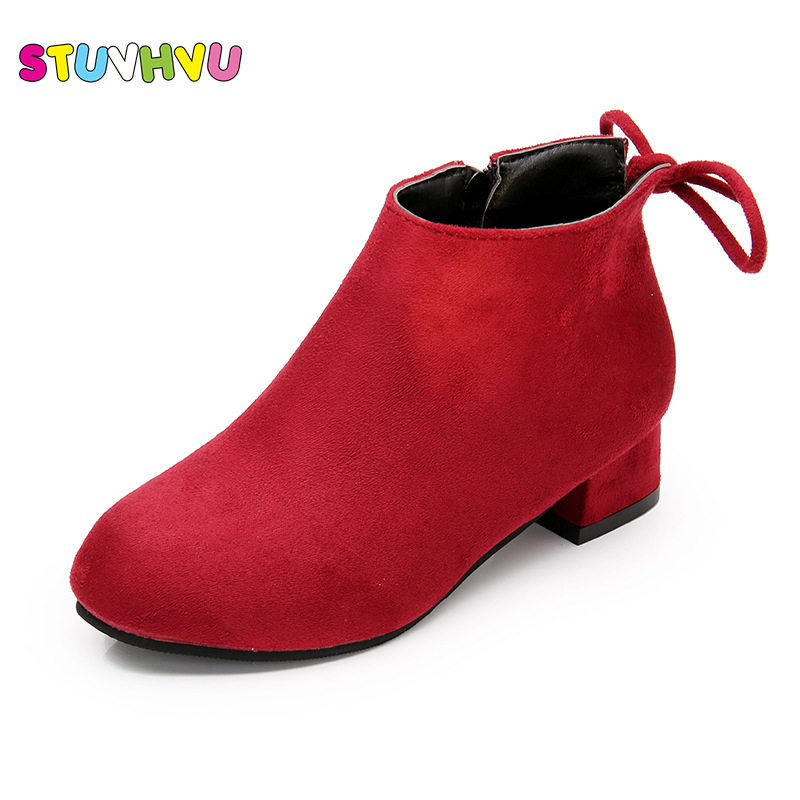 Winter fashion girl princess shoes zipper ankle boots children snow boots high heels velvet leather shoes for girls warm boots ...