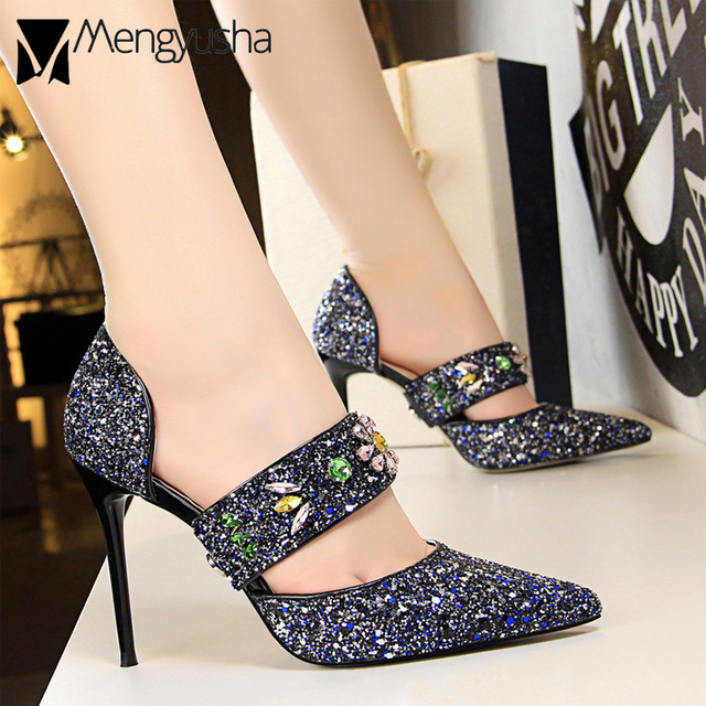 e00b80532f41b super high heel hollow gladiator sandals woman colorful rhinestone sequins  party shoes lady luxury brand sandals crystal shoes