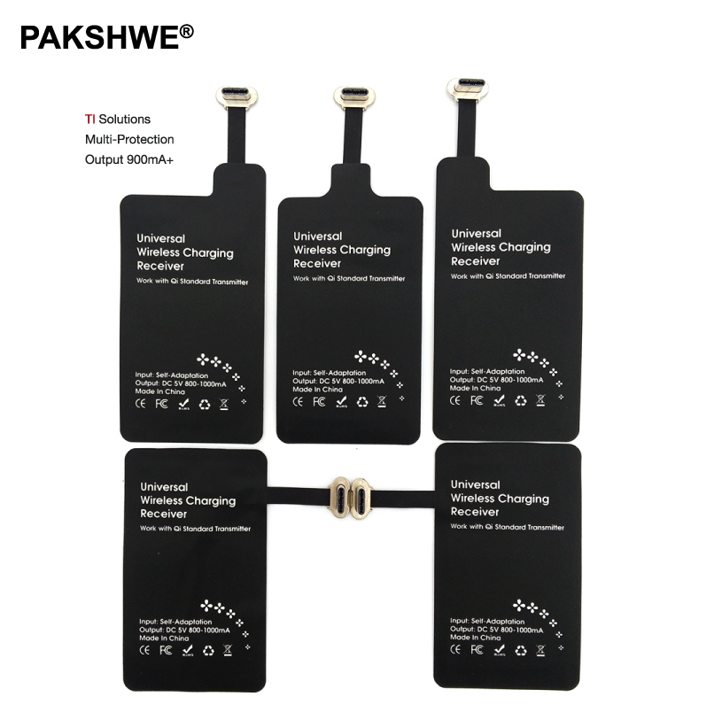 Беспроводное зарядное устройство-приемник Qi на базе Android, TI-решение, быстрая зарядка для всех телефонов Huawei P9 с разъемом Micro-USB и Type-C