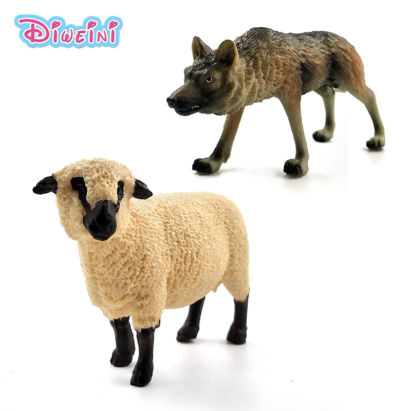 Simulation Forest Animal Model Wolf Sheep Figure Fairy Garden Plastic Decoration Educational Toys Figurine Statue Gift For Kids
