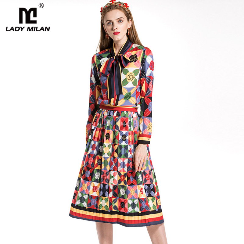 2018 Womens Long Sleeves Printed Bow Detailing Shirt with Pleated Skirts Fashion Designer Twinsets Runway Dress Sets