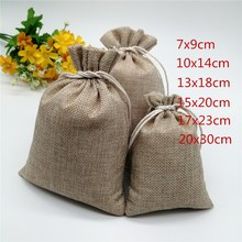 2-5pcs 6 sizes Linen Jute Drawstring Gift Bags  Wedding Party Favor Candy Bag Vintage Burlap Packaging Jewelry Pouches