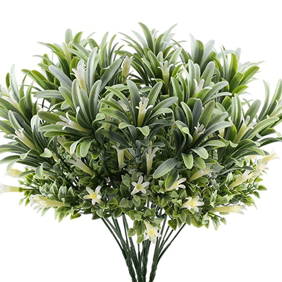 Artificial Plastic Lily Flowers Plants Fake Leaves Garden Shrubs