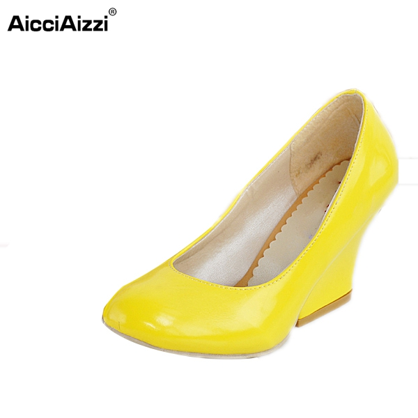 Women Square High Heels Shoes Woman Fasion Round Toe Patent Leather Pumps Ladies Dress Pumps Heeled Footwear Size 34-45