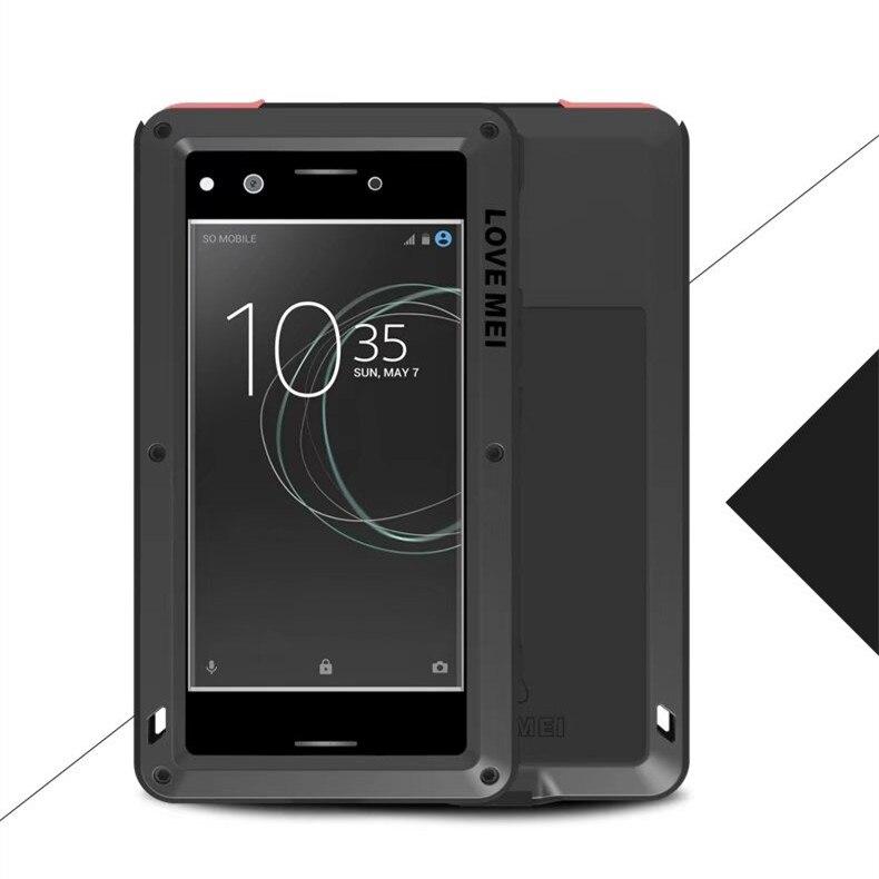 Love Mei étanche antichoc robuste couvercle en verre trempé boîtier en aluminium droit en métal pour Sony Xperia XZ XZs & XZ Premium