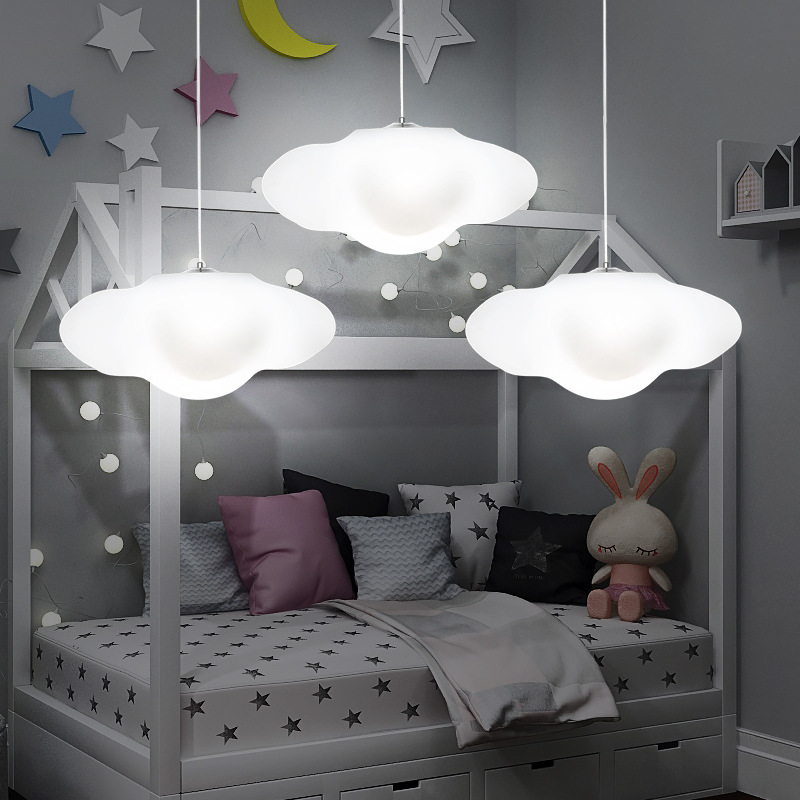 цена Creative cloud led chandelier kindergarten children room cloud light restaurant bar decoration rigid plastic lamp free shipping онлайн в 2017 году