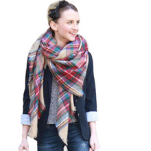 Hot Sale Luxury Brand Female Scarf Checkered Wool Blend Designer Shawl Girl thicken soft Scarves Winter