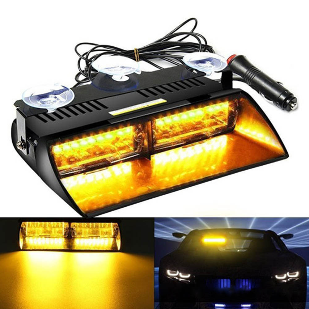 16 LEDs 18 Flashing Modes 12V Car Truck Emergency Flasher Dash Strobe Warning Light Day Running Flash LED Lights