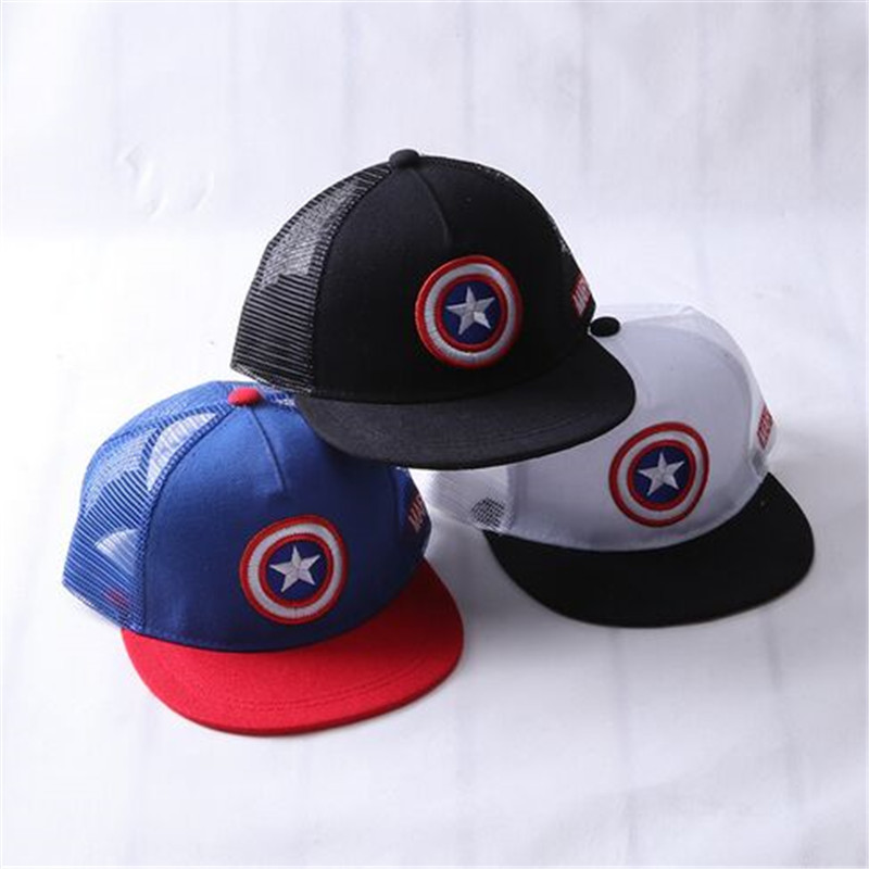 ALLKPOPER Summer Childrens Baseball Cap Boys&Girls Cartoon Captain America Snapback Adjustable Kids Hip Hop Hat Sun Mesh Cap